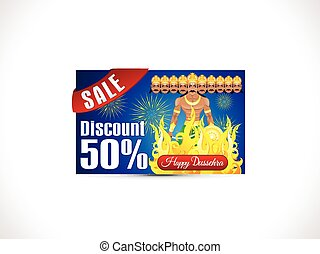 abstract artistic creative dussehra discount card.eps -...