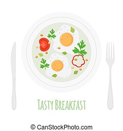 English breakfast - fried eggs with vegetables on plate. Vector illustration