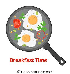 English breakfast - fried eggs with vegetables on pan. Vector illustration