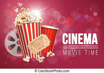 Cinematograph concept banner design template with popcorn,...