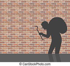 Burglar in front of brick wall, vector