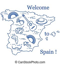 Vector illustration with various symbols of Spain arranged...