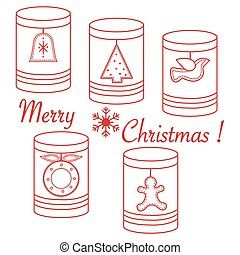 Jars with Christmas and New Year tags: ?hristmas tree, bell,...