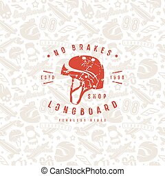 Seamless pattern with image of longboarding equipment....