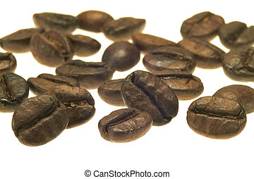 Coffee - Some coffee beans lie side by side against white...