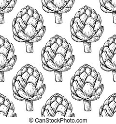 Artichoke hand drawn vector seamless pattern. Isolated...