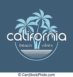 California beach vibes t-shirt and apparel vector design,...