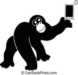 Monkey with smart phone isolated - Monkey with smart phone...