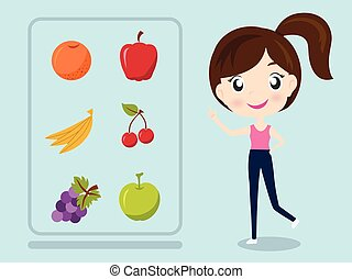 women recommended fruit health Concept