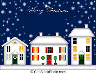 Snow-Covered Houses with Christmas Decoration Night -...