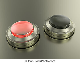 Stop knob button on grey background. 3D illustration.