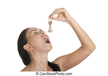 llaves, mujer, golondrinas, joven