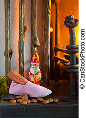Sinterklaas shoe with carrot for the horse near the...