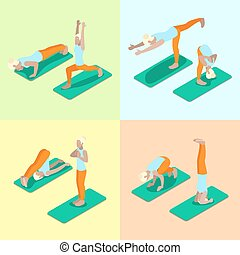 Isometric Woman Yoga Poses Exercise Gym Workout. Healthy...
