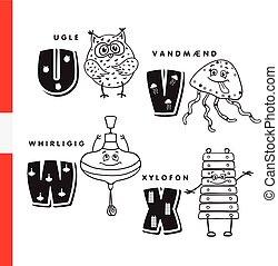 dán, xylophone., alphabet., bagoly, fogaskerék, vektor,...
