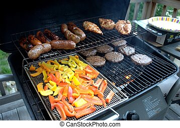 bbq cookout - cookout with food on the grill.