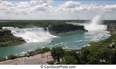 Niagara Falls showing both the Canadian and American falls
