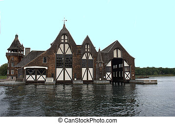 antique boat house - boat house located at thousand islands...