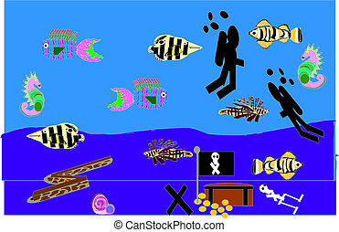 aquarium with scuba diver and various types of fish