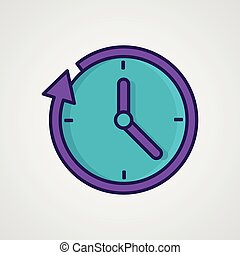Round the clock flat style icon. Vector illustration