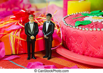 Wedding day for gay couple - Wedding gay couple in front of...