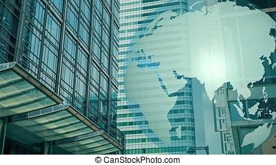 World globe and office buildings - London downtown office...