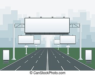 Big blank billboard in cityscape background shape. Billboard...