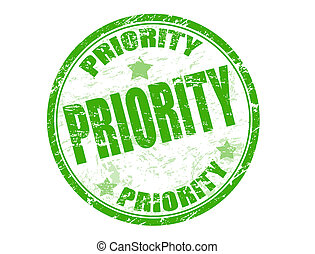 priority stamp - Green grunge rubber stamp with the word...