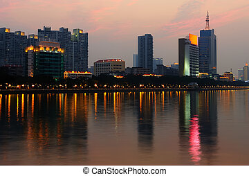 Night scene of Guanghzou city over the Zhujiang River, photo...