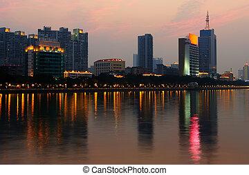 Night scene of Guanghzou city over the Zhujiang River, photo...