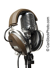 Vintage Microphone with modern headphones - Vintage...