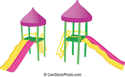 two colorful playground slides - two views of a colorful...