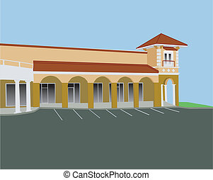 arched strip mall - beige strip mall with arches and corner...