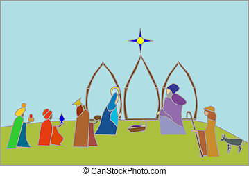 nativity scene - stained glass styled nativity scene with...