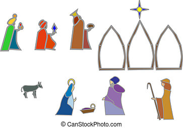 navity shapes - stained glass style nativity elements