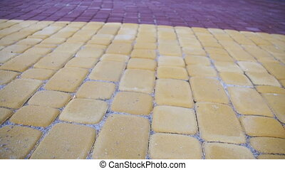 Colored Paving Stones in a Park in Motion - Colored paving...
