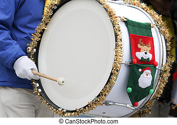 christmas - detail of a marching base drum at a christmas...