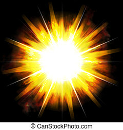 Fiery Blast - A bright exploding burst over a black...