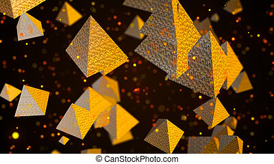 Abstract background with golden pyramids. Digital backdrop....