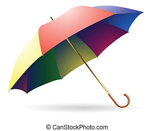 The opened multi-colored umbrella on a white background