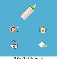 Flat Icon Infant Set Of Nursing Bottle, Napkin, Pinafore And...
