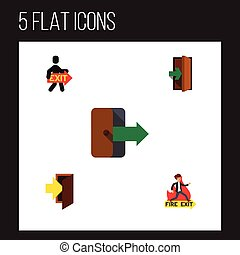 Flat Icon Emergency Set Of Entrance, Directional, Emergency And Other Vector Objects. Also Includes Entrance, Door, Emergency Elements.