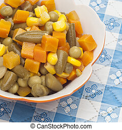 Close Up of Bowl of Canned Mixed Vegetables