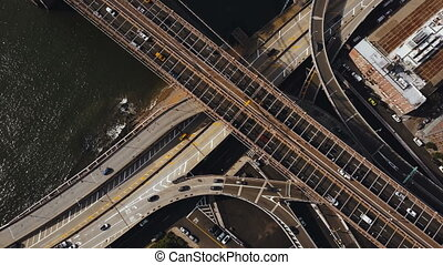 Aerial top view of traffic road in New York, America. Drone...