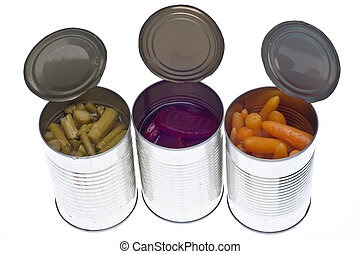 Variety of Canned Vegetables in Cans Including Asparagus,...