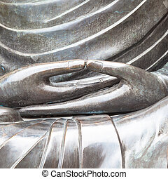 Detail of Buddha statue with Dhyana hand position, the...