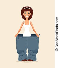 Happy smiling woman character loose weight and try big pans....