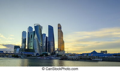 Timelapse of Moscow City skyscrapers
