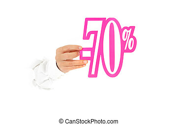 Seventy percent discount sign, hand - Hand of man breaking...