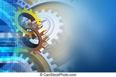 3d gears - 3d illustration of gears over blue background...